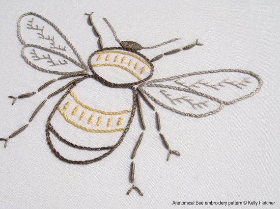 Anatomical Bee Hand Embroidery Pattern Modern Embroidery Nature