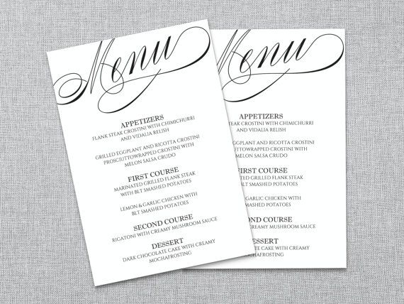 Wedding Menu Template Wedding Menu Printable Diy Word File