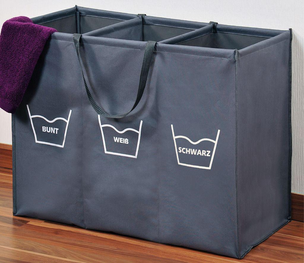 Kesper Wäschesortierer Wäschekorb mit 3 Fächern inkl