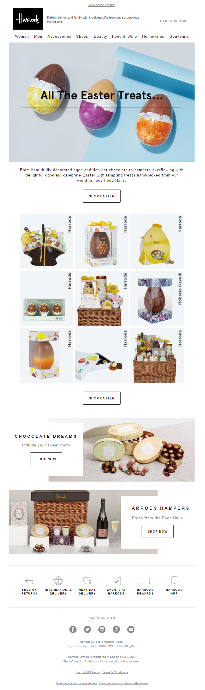 Designer clothing luxury gifts and fashion accessories harrods easter treats email from harrods emailmarketing email marketing retail easter negle Gallery