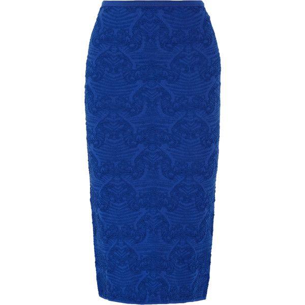 M Missoni - Textured-knit Pencil Skirt ($223) ❤ liked on Polyvore featuring skirts, bright blue, m missoni skirt, elastic waist skirt, knee length pencil skirt, blue skirt and elastic waist pencil skirt