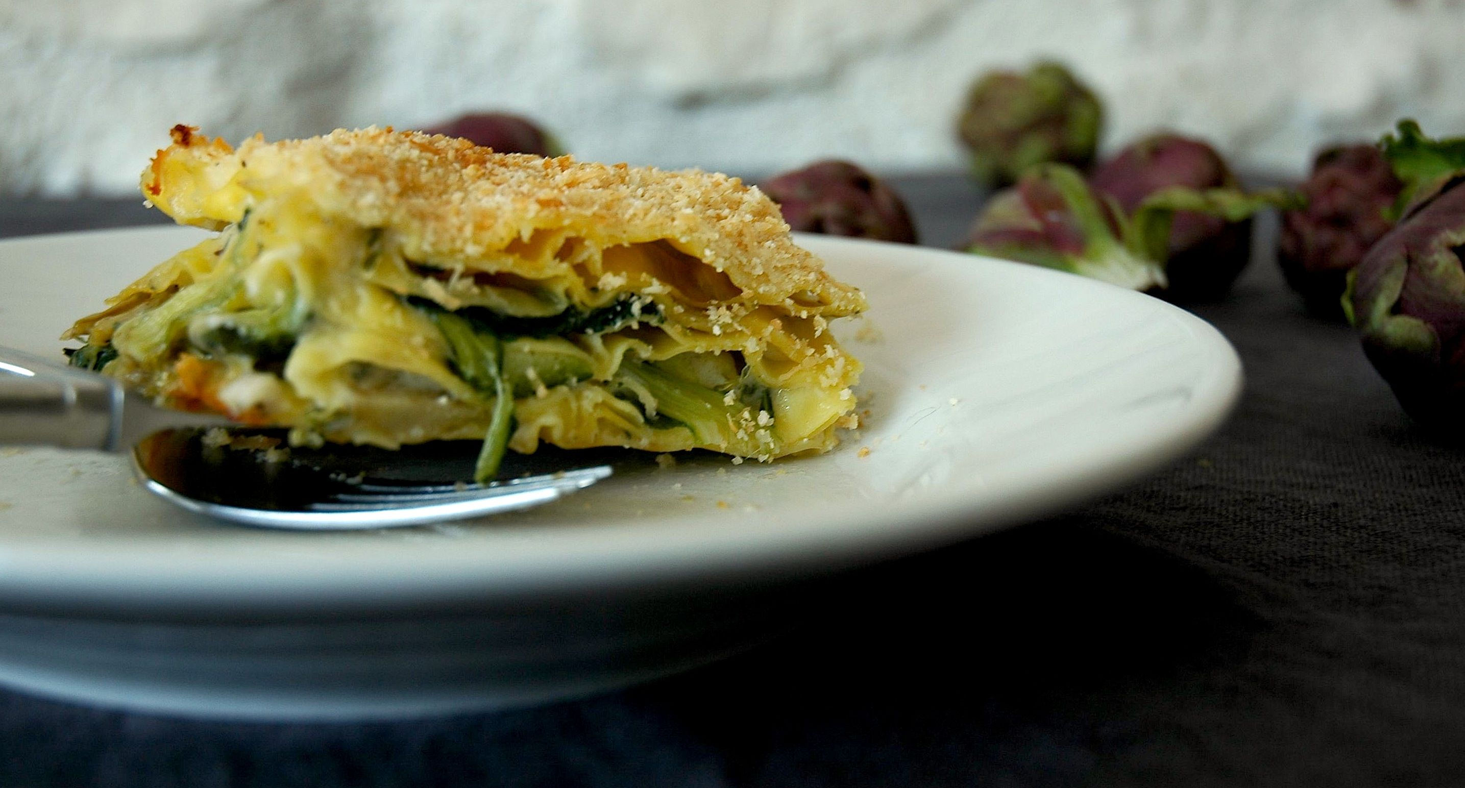 wintery lasagna with braised artichokes, chard and loads of gorgonzola.....