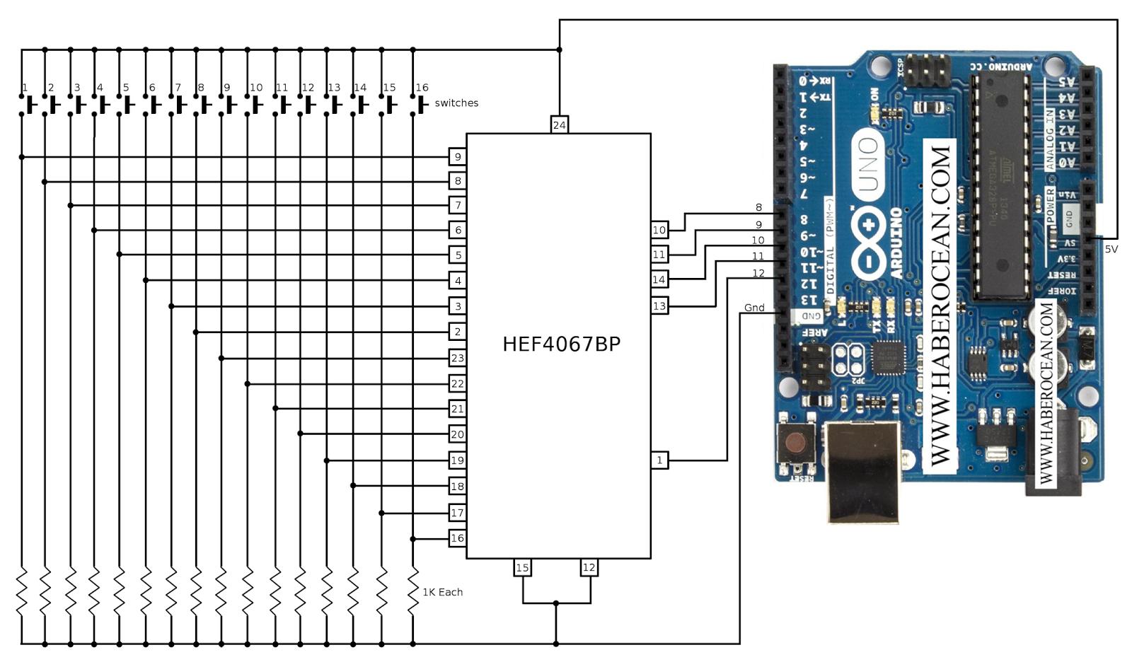 Circuit To Interface Hef4067bp Arduino How Use 4067 Water Level Indicator Gadgetronicx Multiplexer Or Demultiplexer Mux Demux Tutorial