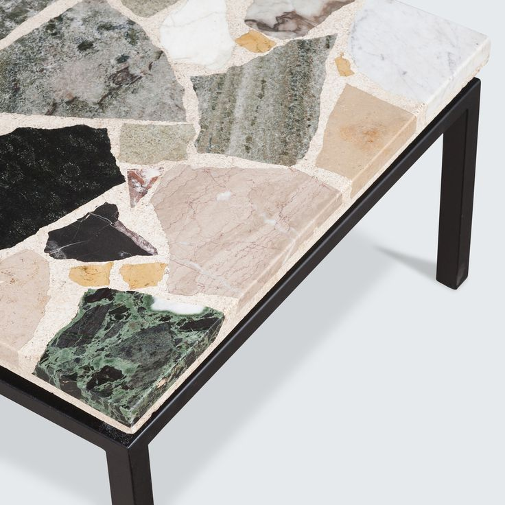 Beautiful dutch teraazzo rectangular coffee table with a mixed marble quartz and granite mosaic table