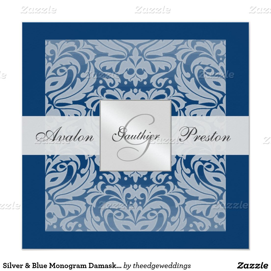 silver blue monogram damask border invitation wedding winter