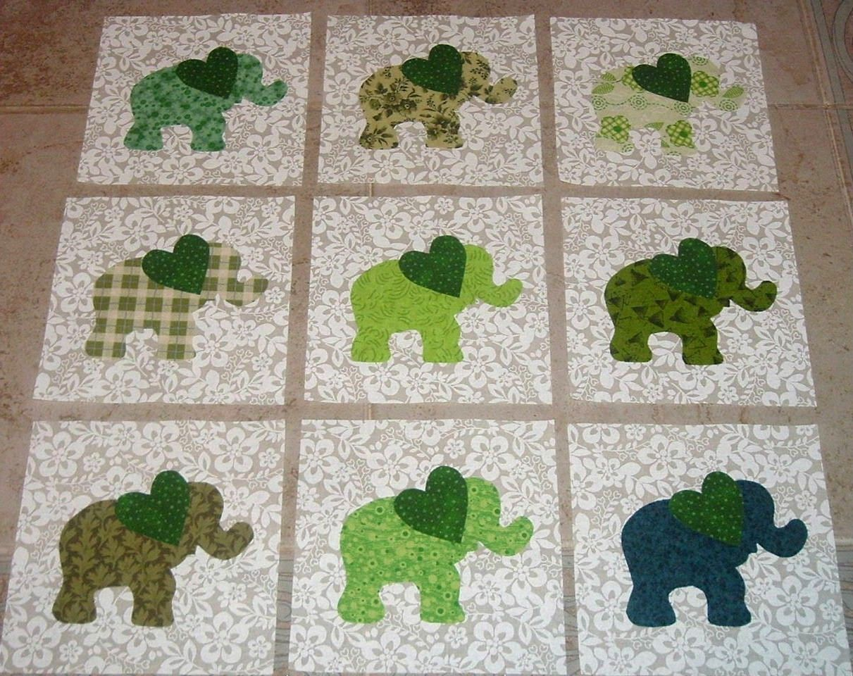 9 Baby Green Elephant with Heart Quilt Top Blocks only done in various Crimson fabrics QUILTS ...