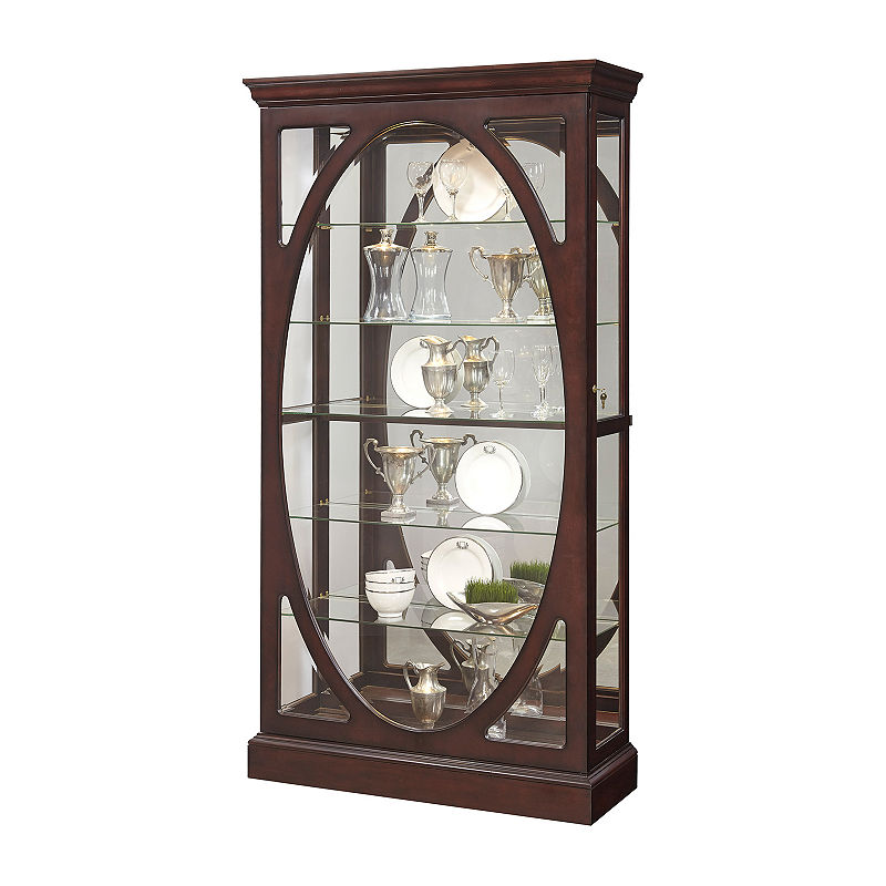 Sable Oval Framed Mirrored Curio Cabinet | Curio cabinet ...
