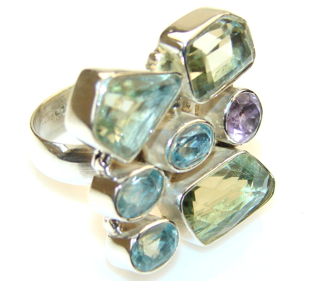 Fabulous Green Amethyst Sterling Silver Cocktail ring s. 7