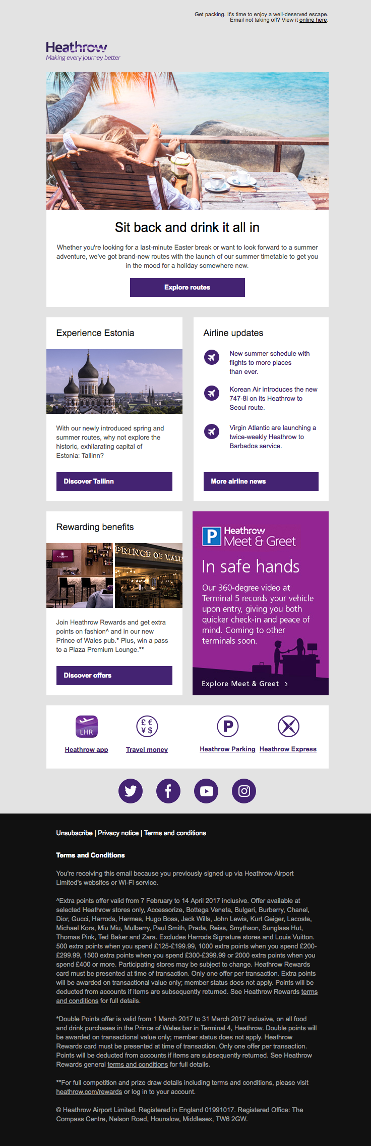 Heathrow Airport sent this email with the subject line: Your March Newsletter - Read about this email and find more announcement emails at ReallyGoodEmails.com #announcement #newsletter