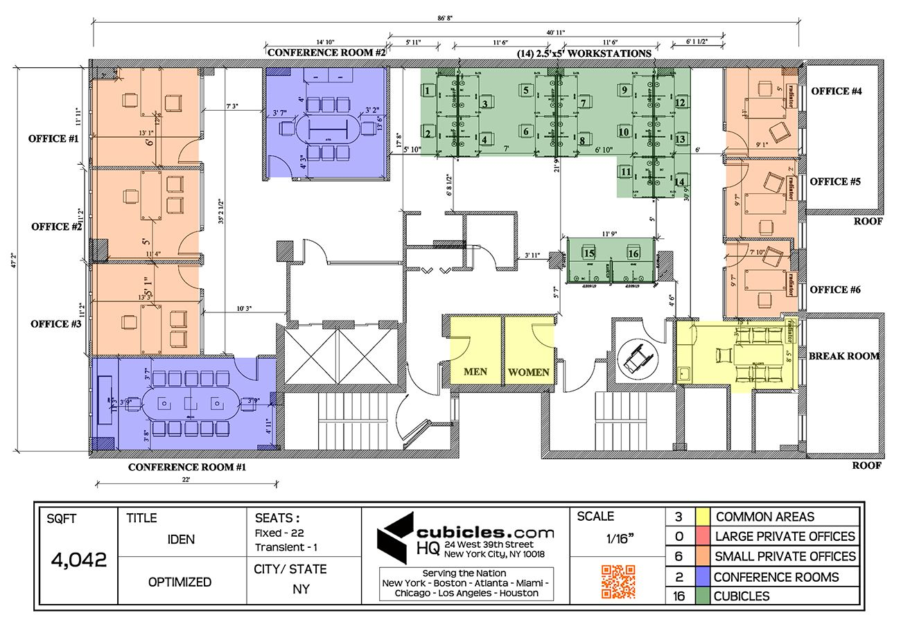 Office layout plan with 3 common areas officelayout for Office space planning ideas