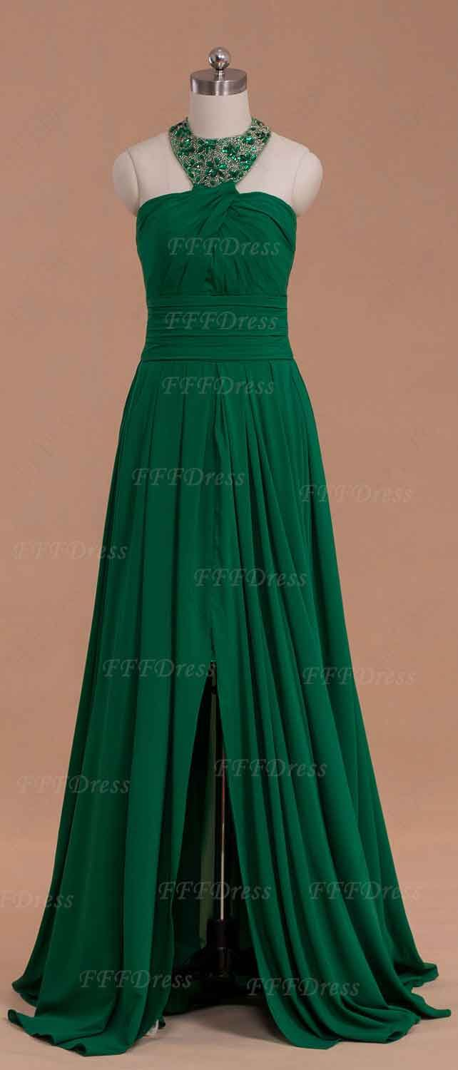 Halter emerald prom dress with slit dress formal emeralds and maids