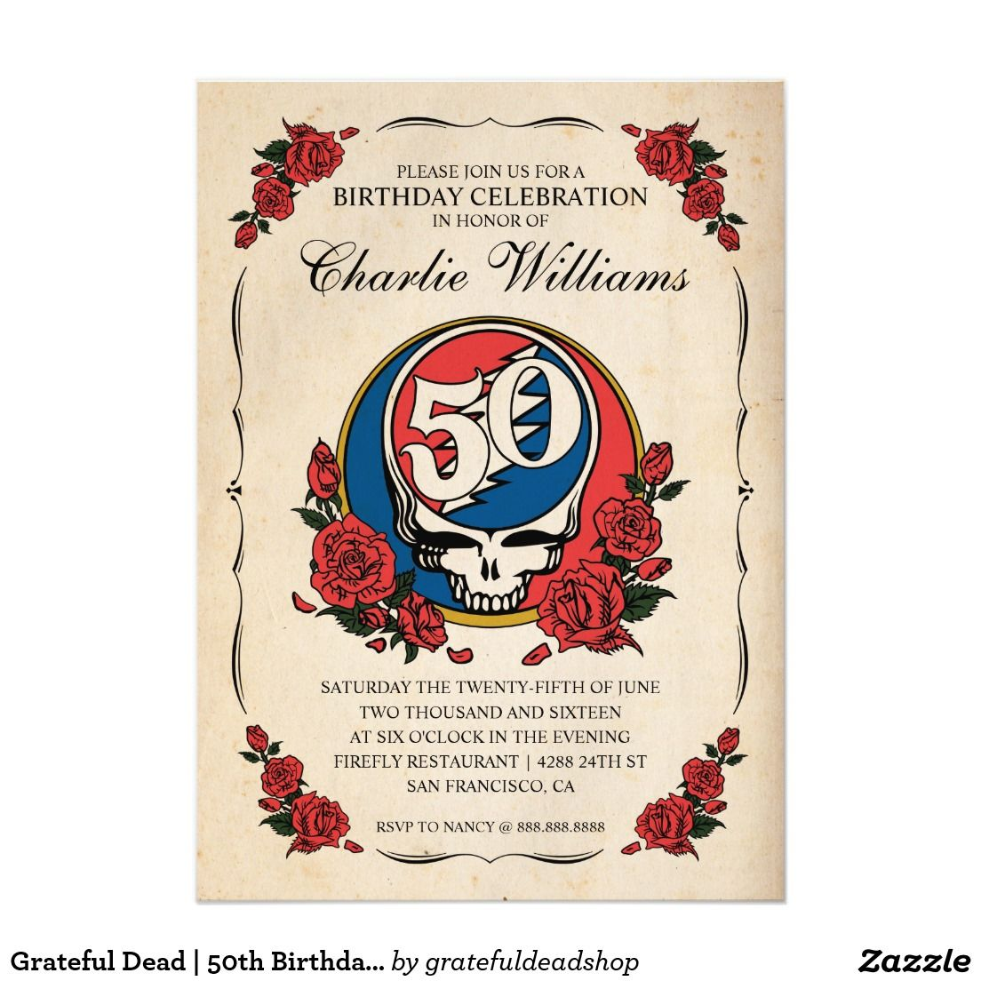 Grateful dead 50th birthday party card invitations grateful dead 50th birthday party card m4hsunfo Choice Image