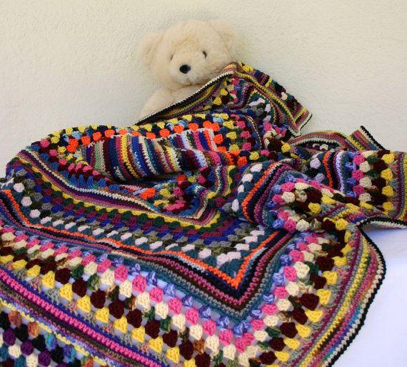 RESERVED Granny square afghan crochet scrap yarn blanket colorful ...