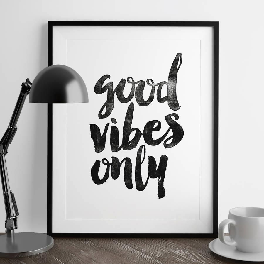 Good Vibes Only http://www.amazon.com/dp/B016LFMQZO  inspirational quote word art print motivational poster black white motivationmonday minimalist shabby chic fashion inspo typographic wall decor
