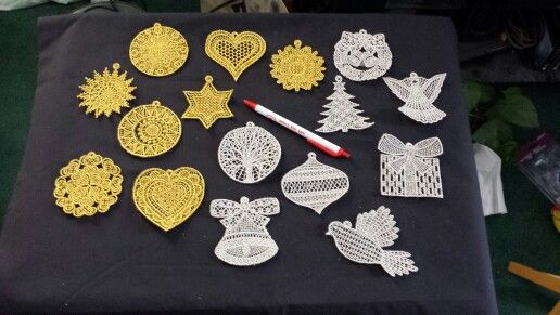 My embroidered lace ornaments..love them