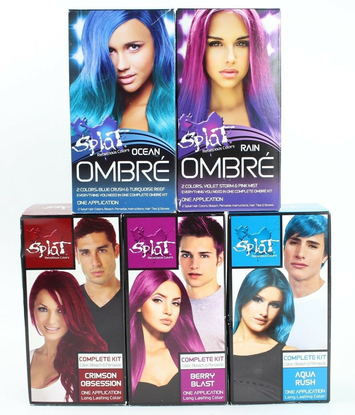 X5 Splat Rebellious Colors Hair Dye Coloring Complete Kit Ombre Lasting Lot Of 5 In 2020 Hair Dye Colors Dyed Hair Hair Color