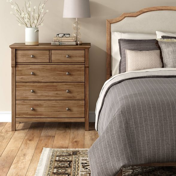 Shelburne Wood 4 Drawer Dresser Brown - Threshold