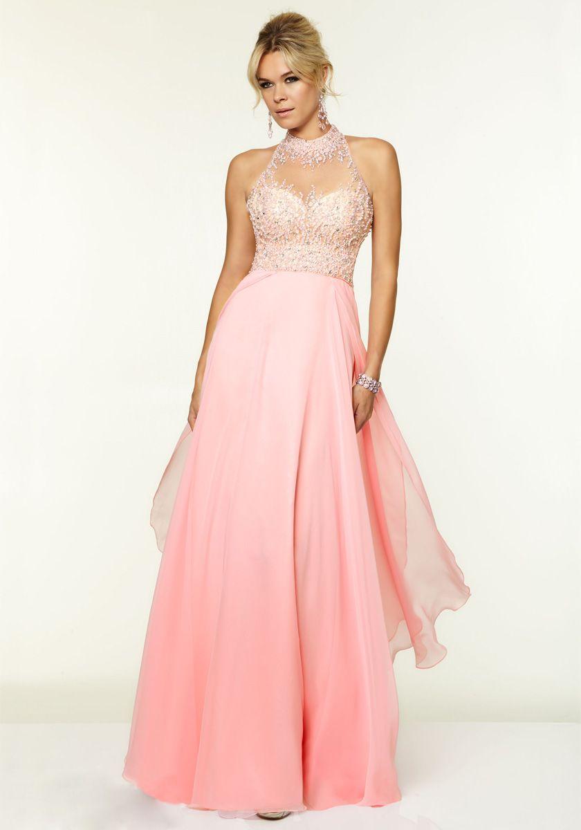 High neck floor length pink chiffon aline prom dress prom dresses