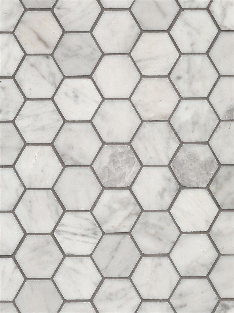 Beaumont Tiles Carrara Bianco Hexagon Mosaic With White Grout