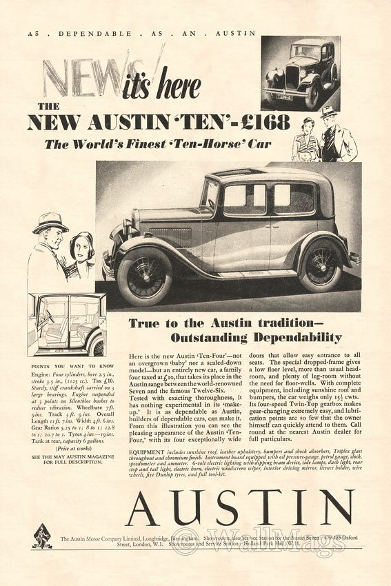 Austin Car Ad From 1932. Scanned from an original 1932