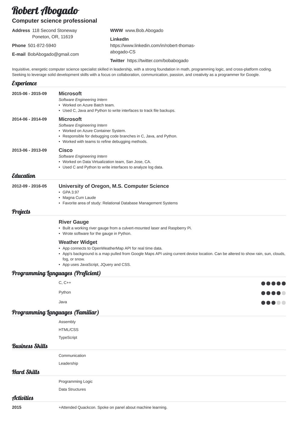 Computer Science Resume Example di 2020