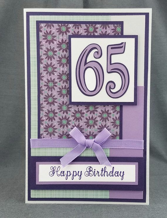 Handmade Purple 65th Birthday Card By CraftyGalCards On Etsy