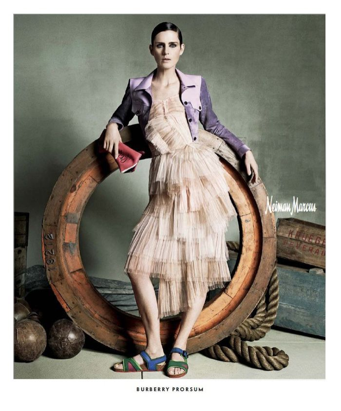 A cropped jacket and ruffled dress from Burberry Prorsum stands out