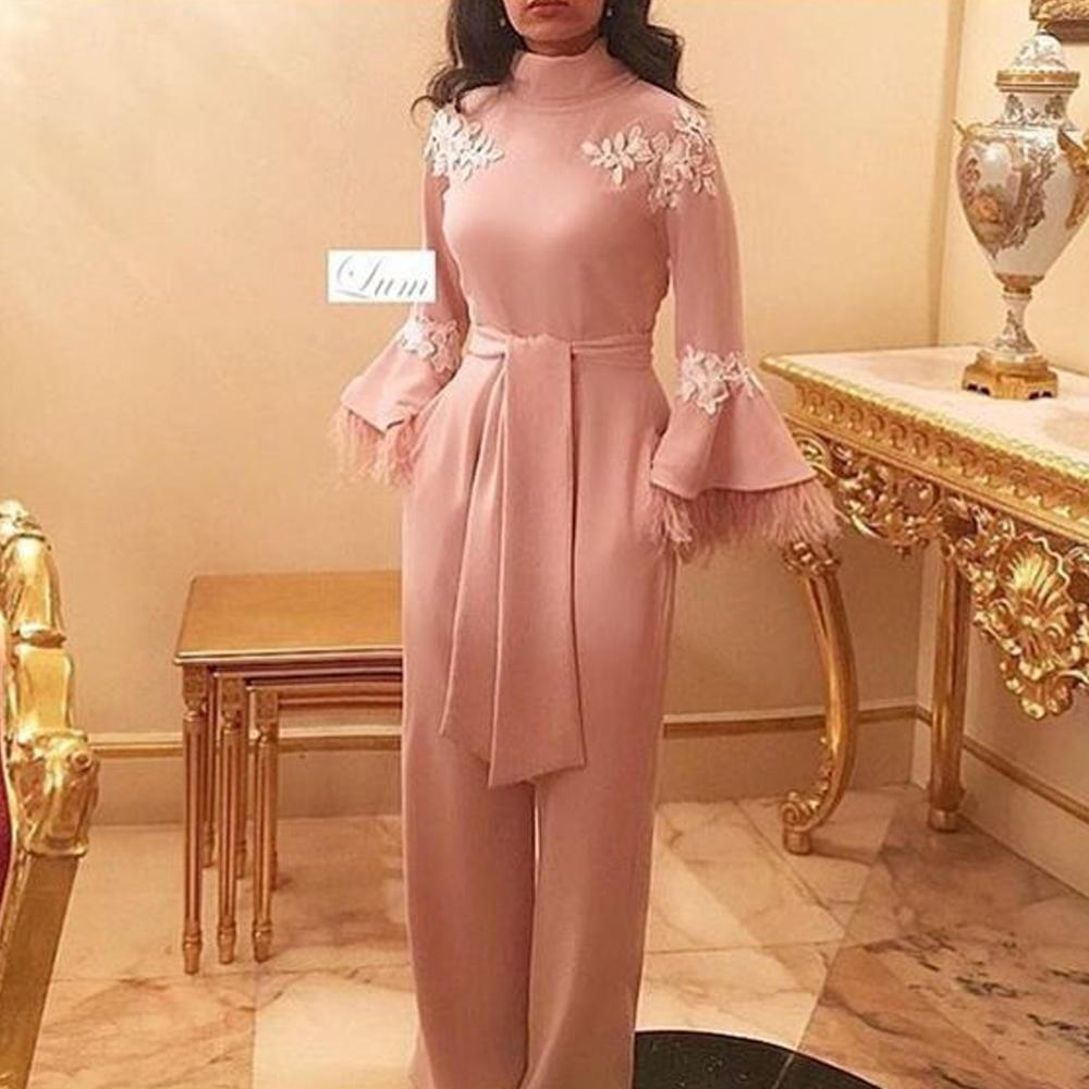 pink prom dresses 2020 high neck long sleeve lace appliques flowers jumpsuit evening dresses feather panty evening gowns formal dresses -   12 dress Hijab evening ideas