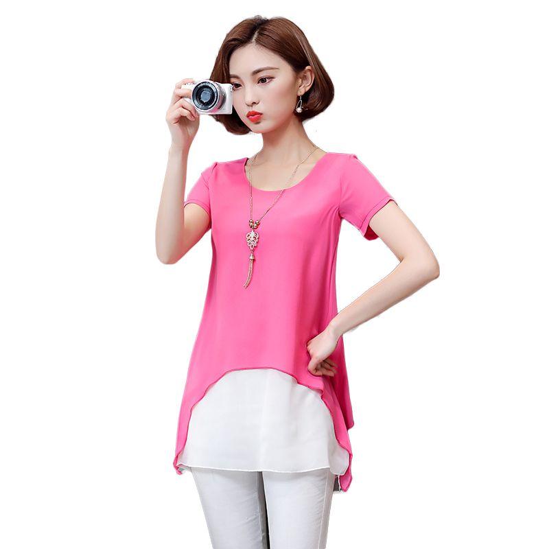 49966906680 Plus Size M-4XL Women Blouse Summer 2017 Fake 2pcs Short Sleeve Chiffon  Shirt Women