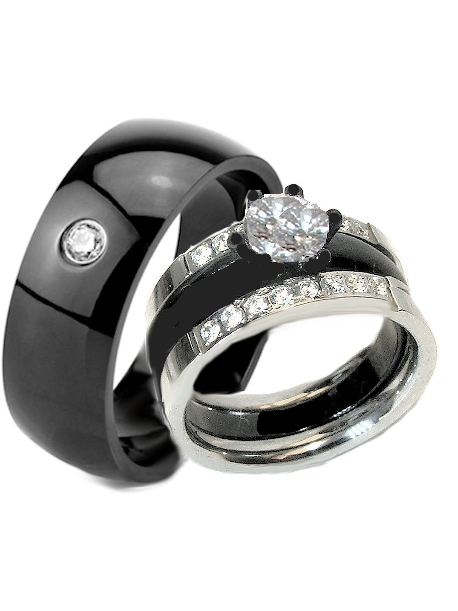 His Her Wedding Ring Set Black Stainless Stainless Steel Rings Weddingringsets Three Stone Engagement Rings Wedding Ring Sets Cool Wedding Rings
