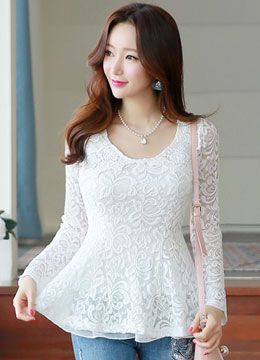 Floral Lace Peplum Blouse Tee, Styleonme
