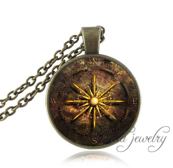 Vintage Compass Face Necklace Jewelry Bronze Ocean Sailing Steampunk Glass Cabochon Pendant Long Necklaces