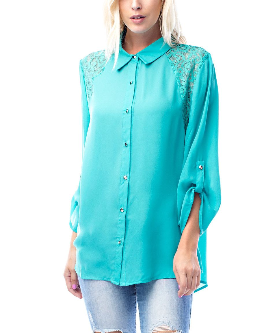 Another great find on #zulily! Teal Lace Roll-Tab Button-Up - Plus by Ami Sanzuri #zulilyfinds