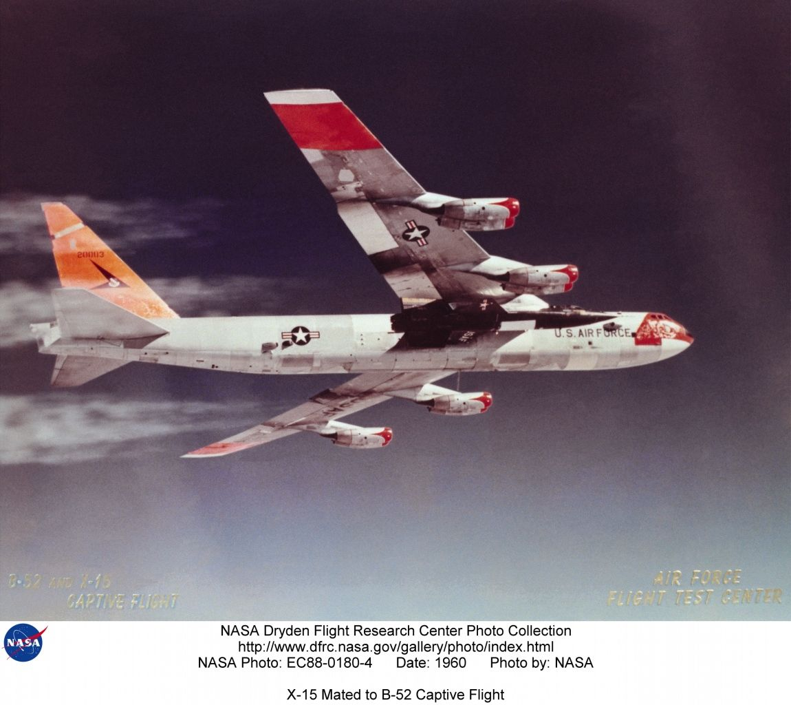 Boeing B 52 Stratofortress Of The U S Air Force History: Boeing B-52 With North American X-15 Mounted Under Wing