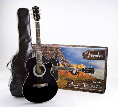 fender fa 130 acoustic electric guitar pack black features include a slim concert body shape. Black Bedroom Furniture Sets. Home Design Ideas