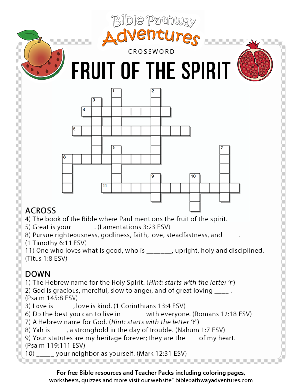 Free Bible Quiz for Kids: Fruit of the Spirit | Bible games school