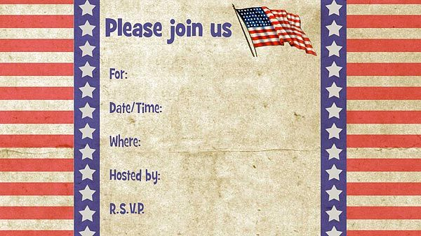 picture about Free Printable Patriotic Invitations titled Patriotic Absolutely free Printable Fill-Inside of Invites 4th of July