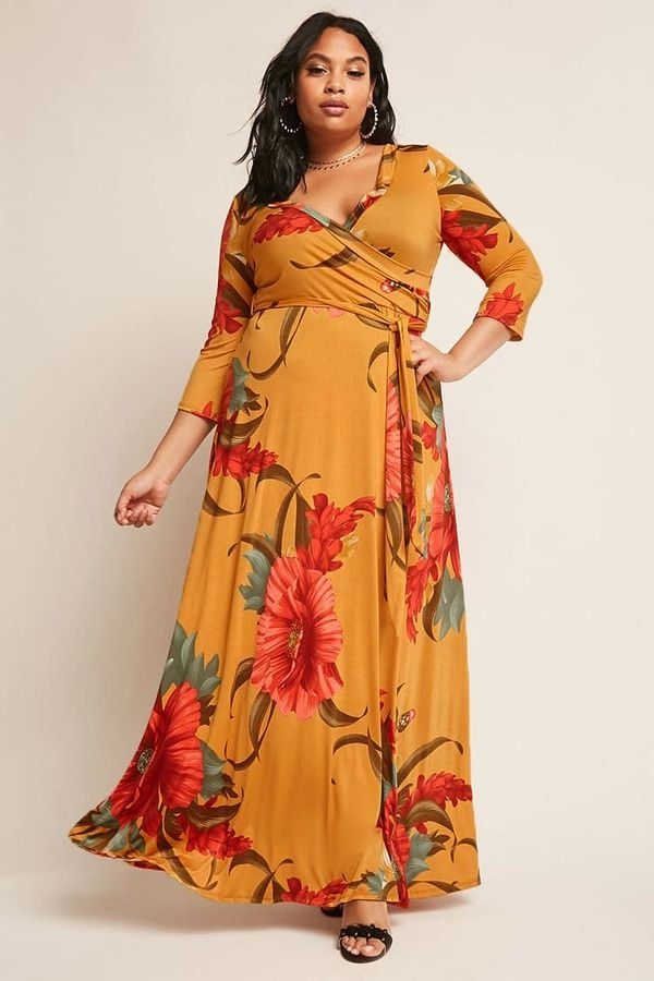 5623295b1f9 Forever 21 FOREVER 21+ Plus Size Floral Wrap Maxi Dress ...
