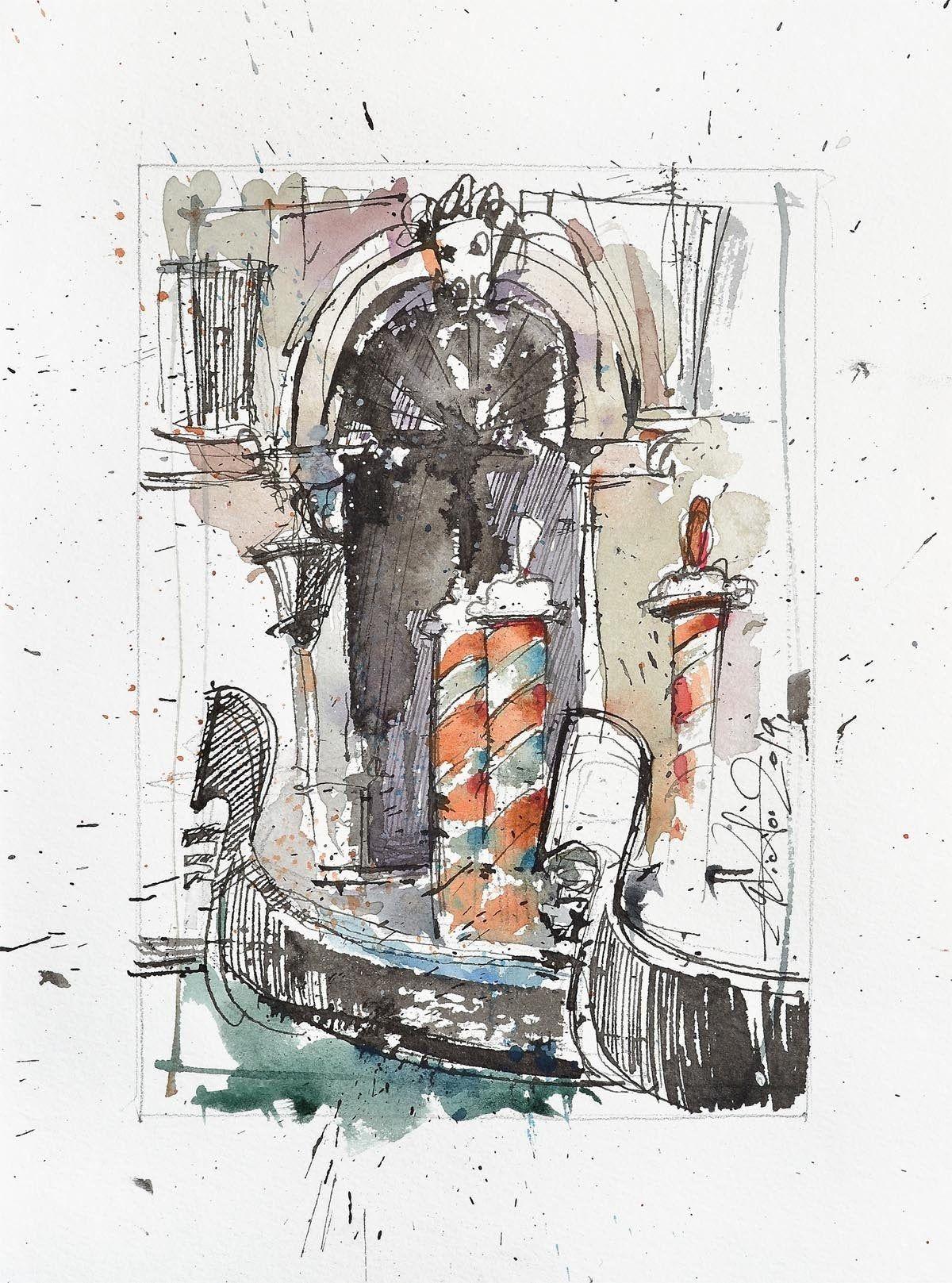 Gondols Urban Sketcher Venice Details Art Painting Original