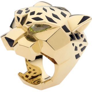 Cartier Panthère ring. Yellow gold, peridots, onyx, lacquer. Channel your inner Dr. Evil/Jay-Z.