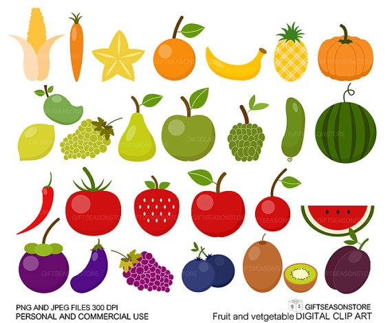 Fruit and Vegetable clip art for Personal and Commercial ...