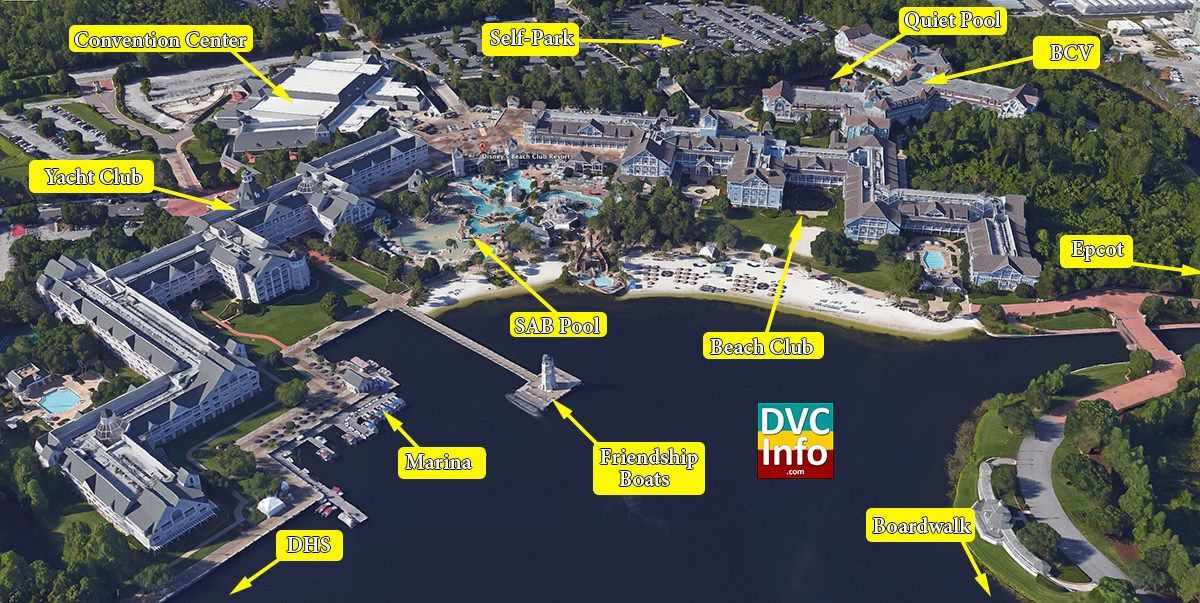 Disney\'s Beach Club Villas Satellite View | Disney Vacation Club ...