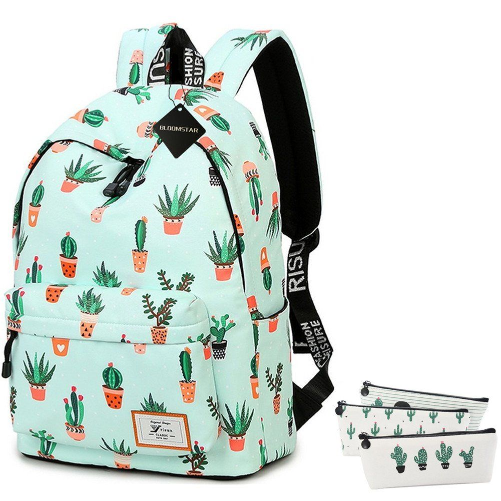 Leather Cactus Pastel Backpack Daypack Bag Women