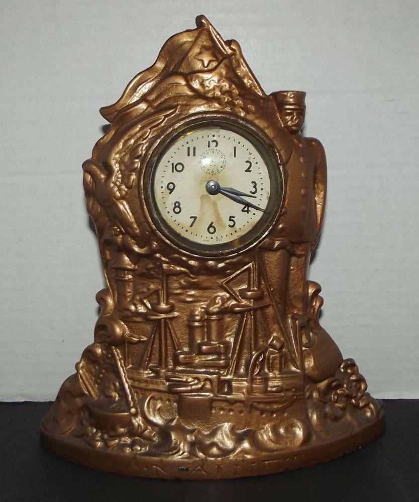 Antique cast iron uss maine navy ship novelty clock made in usa antique cast iron uss maine navy ship novelty clock made in usa old clock works amipublicfo Images