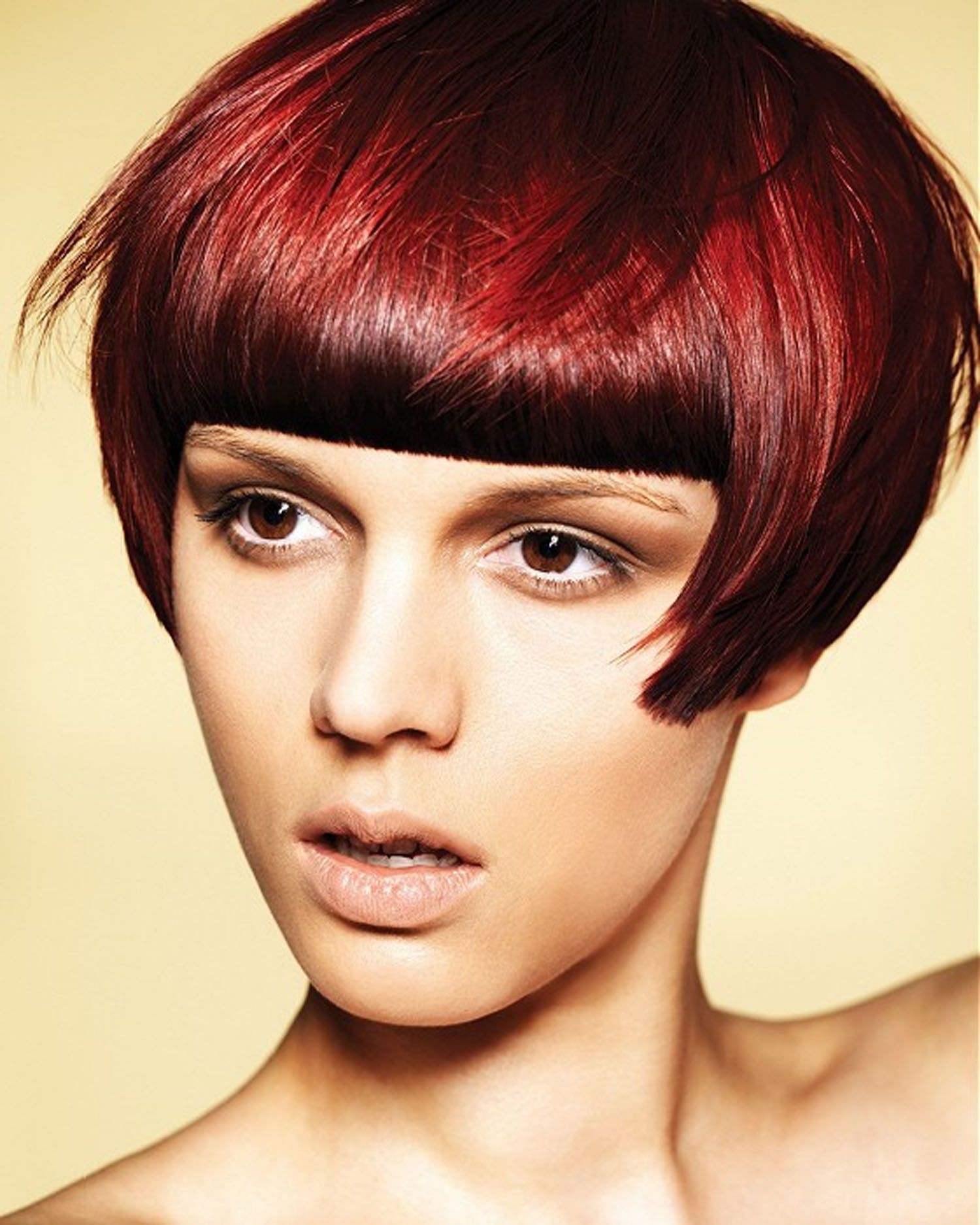 Cool bob with fringe as red hair color ideas for women hairstyle