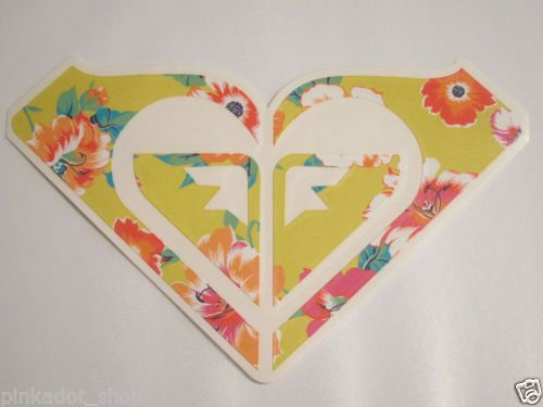 Roxy logo surf skate snowboard vinyl decal sticker 7 5 8 yellow floral new
