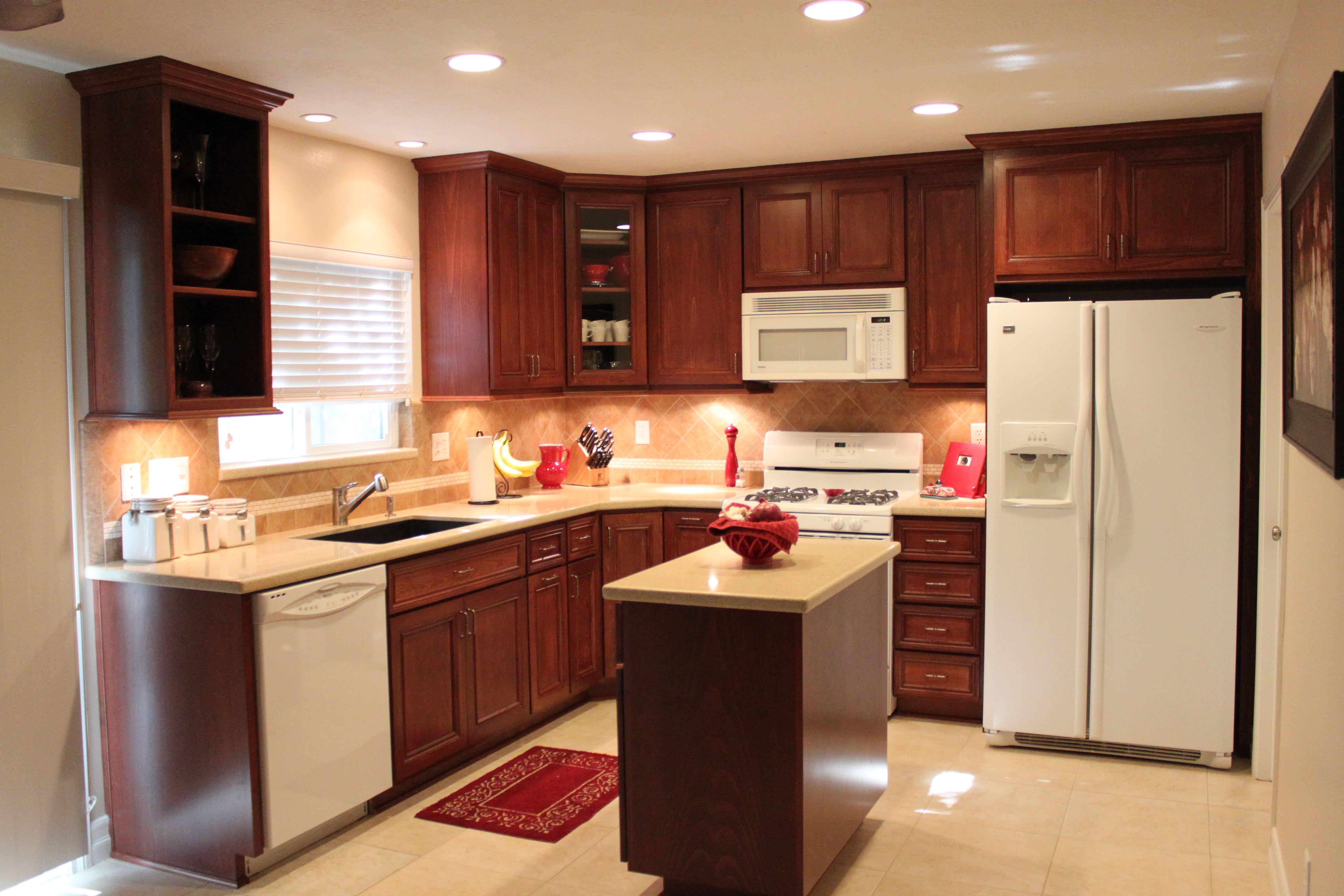 Reface Beech Wood Auburn Stain Yorba Linda Kitchen Cabinets Kitchen Maple Kitchen