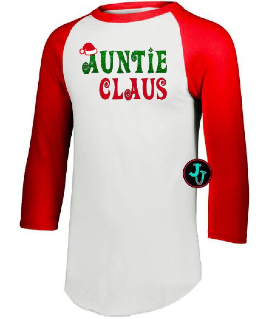 Auntie claus 34 sleeve augusta sportswear raglan