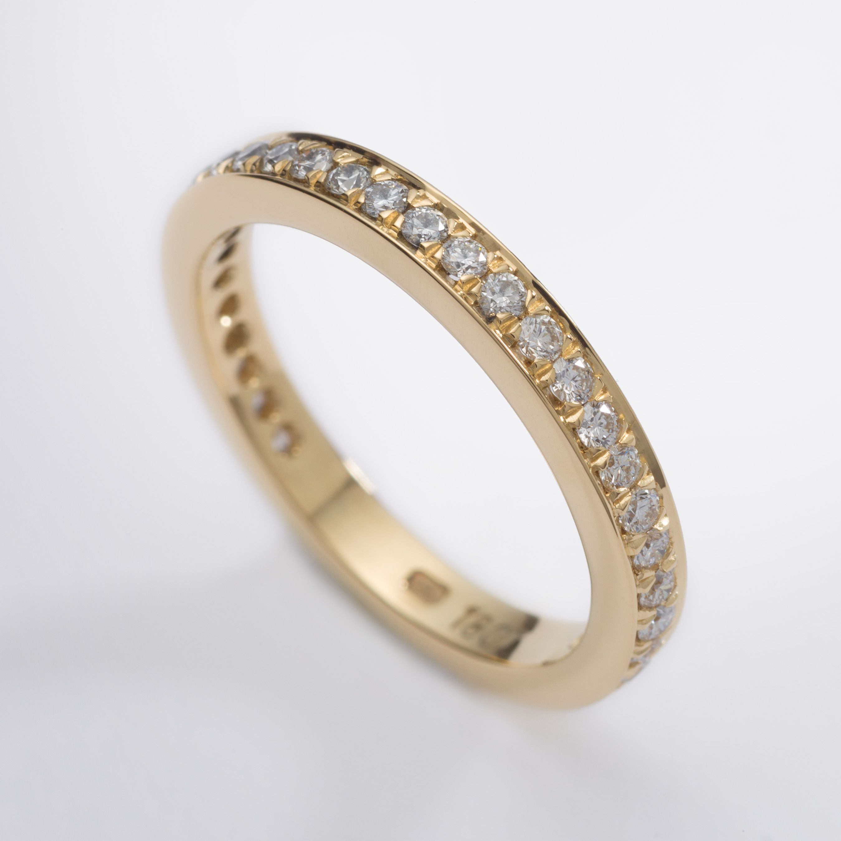 Modern 18ct Yellow Gold Wedding Ring With Pave Set Diamonds Wedding Rings Cork City Yellow Gold Wedding Ring Wedding Rings Wedding Ring Designs