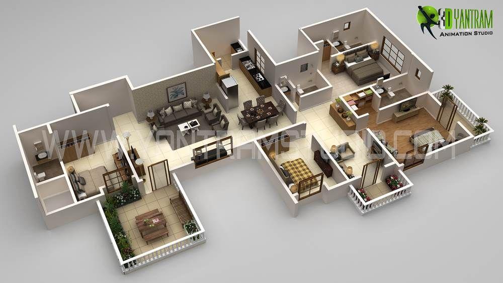 3d Floor Plan Modern Design Creator View In 2020 Floor Plan
